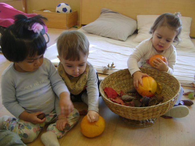 dos nenes i un nen toquen les carbases i les castanyes