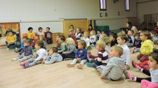 Grups d'infants de dos anys amb 4 mestres asseguts mirant amb un somriure el que està passant.